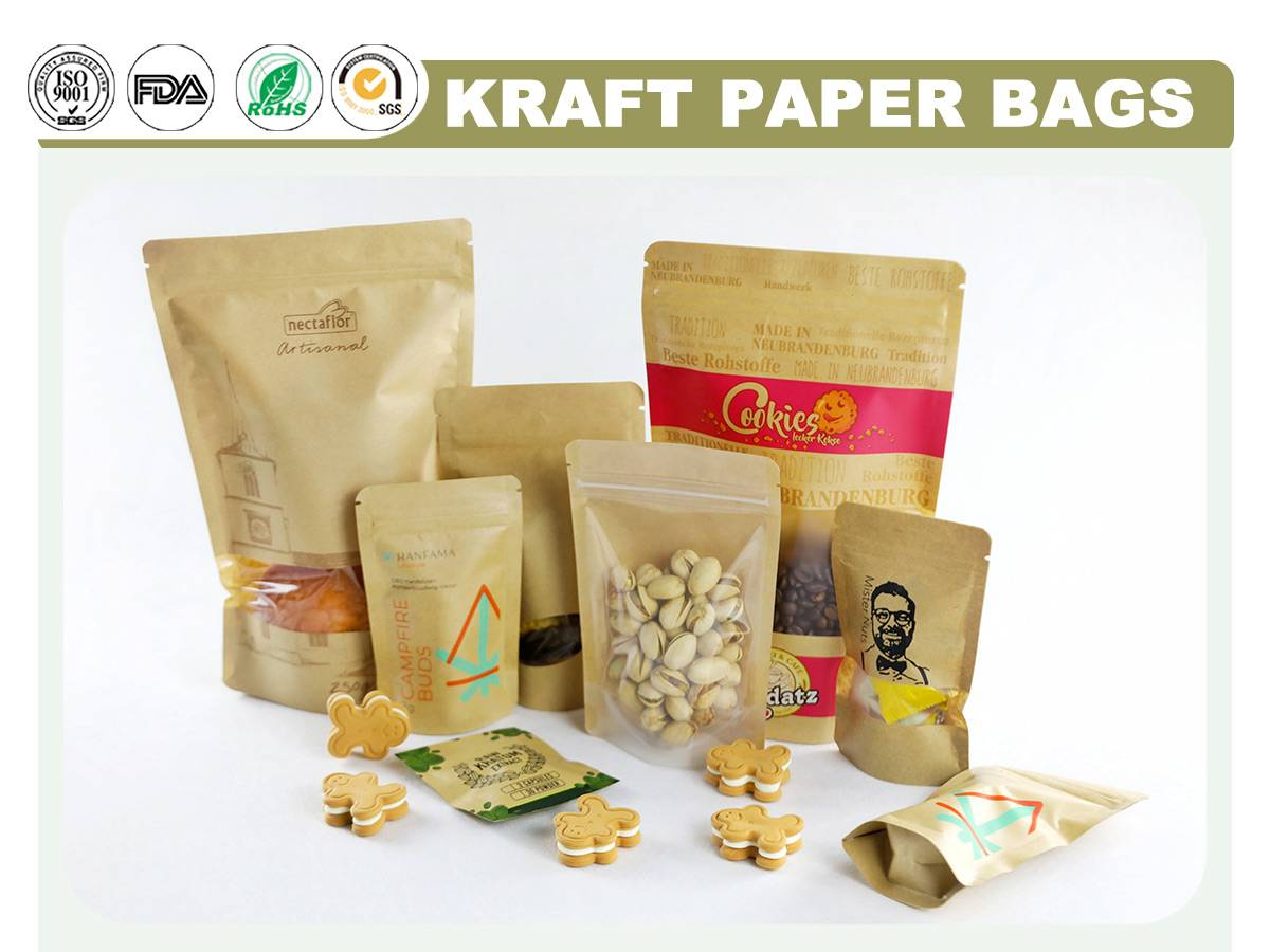 Kraft Resealable Bags With Window