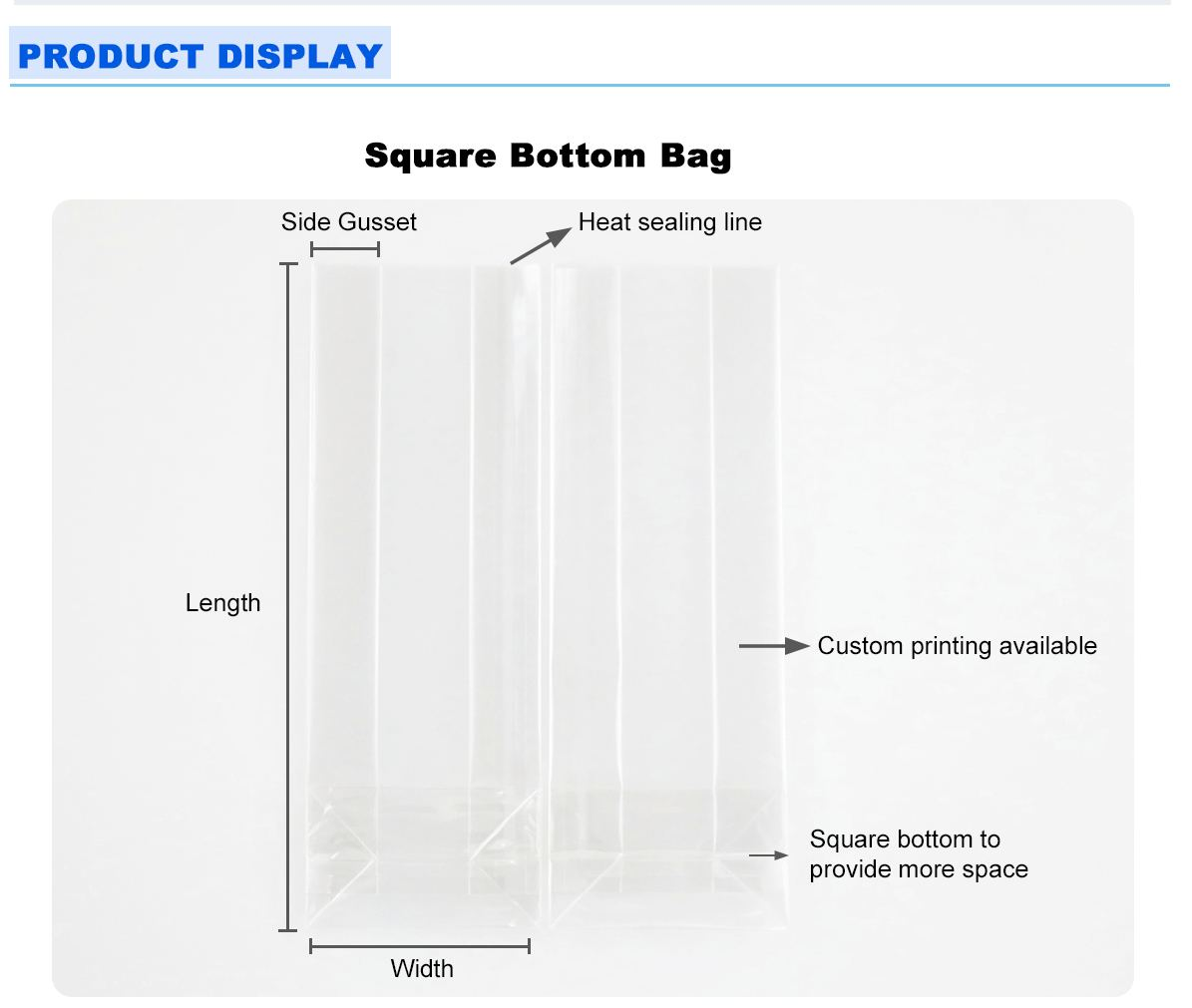 Square Bottom Transparent Packaging Bags