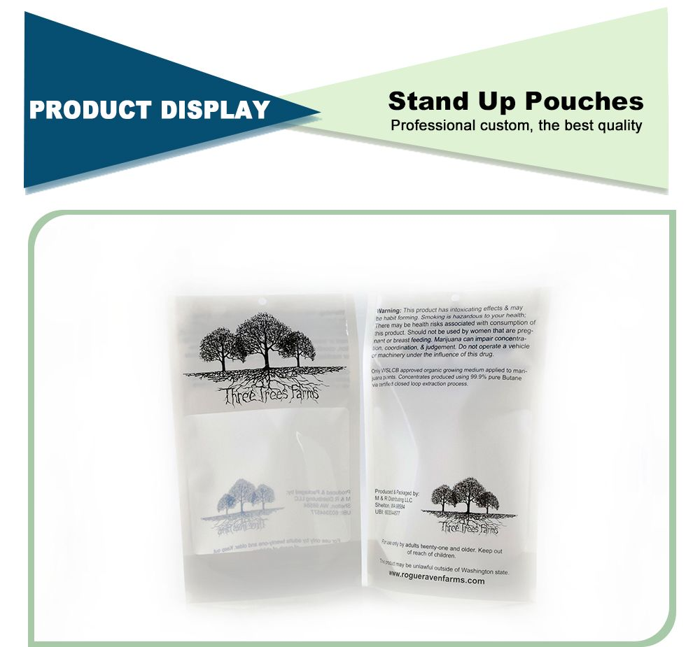 Custom Printed Translucent Stand Up Resealable Pouch