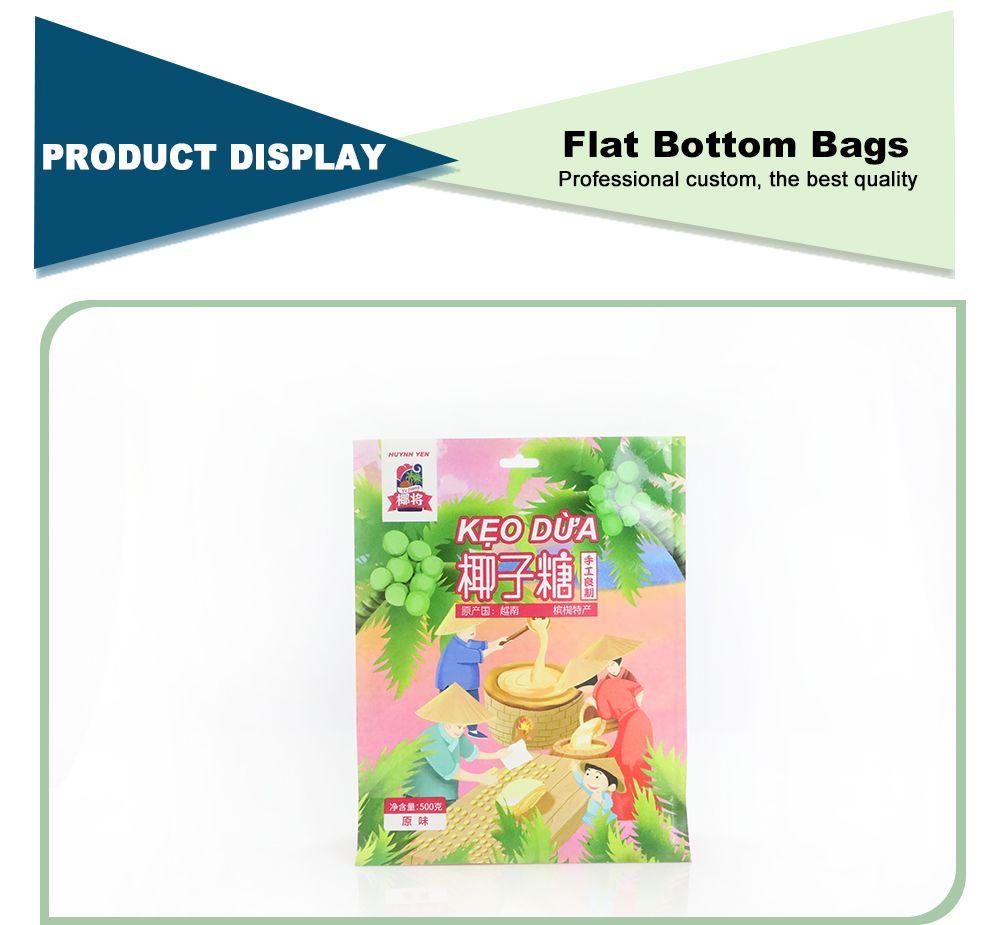 Custom Wholesale Flat Bottom Pouch With Zipper