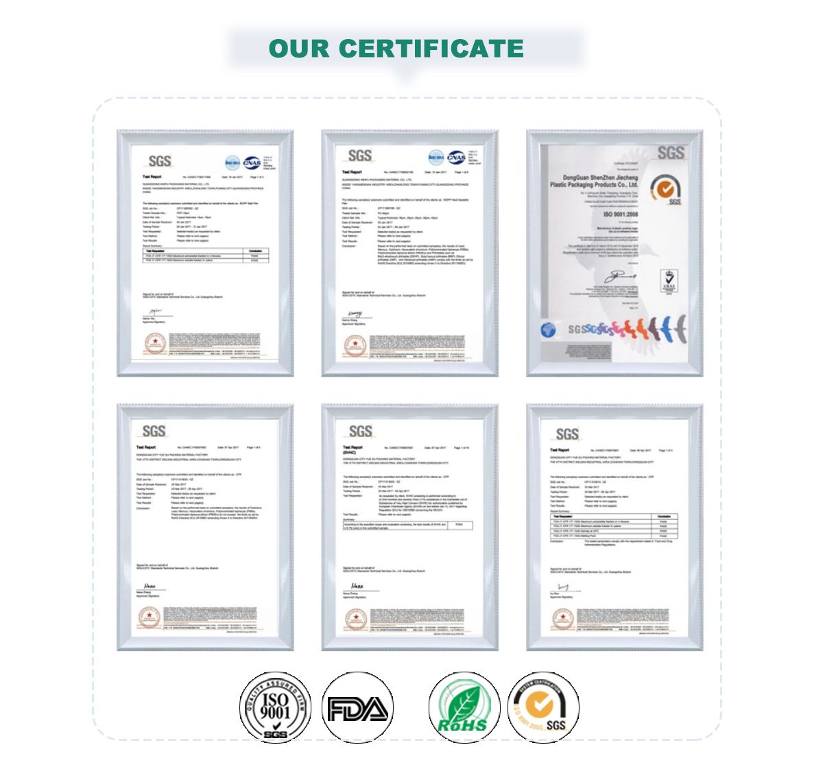 Custom Laminated Films And Packaging Certificate
