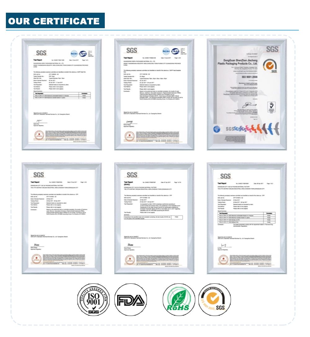 Printed Stand Up Pouches Certificate