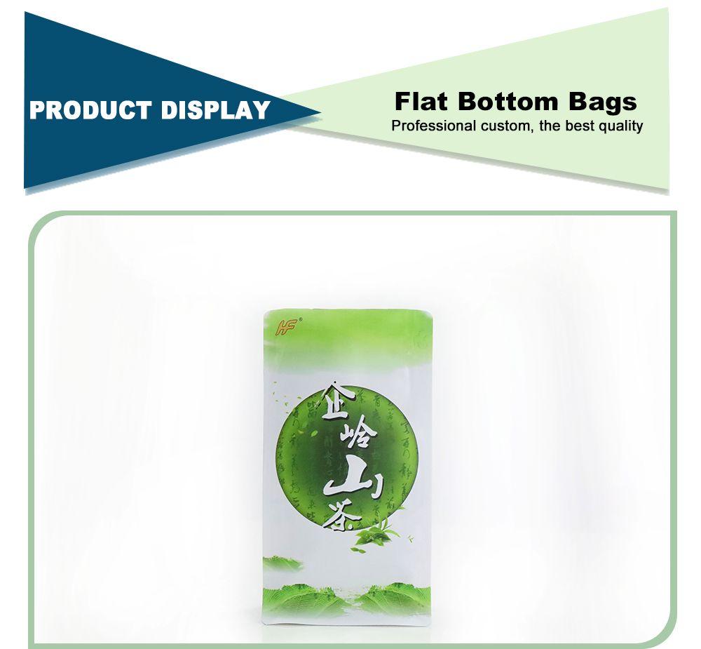 Wholesale Food Grade Green Tea Flat Bottom Box Pouch