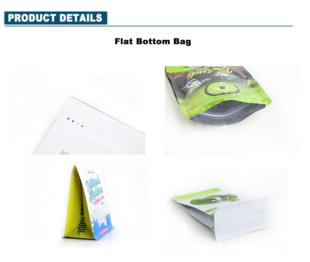 Wholesale Food Grade Green Tea Flat Bottom Box Pouch Minutiae