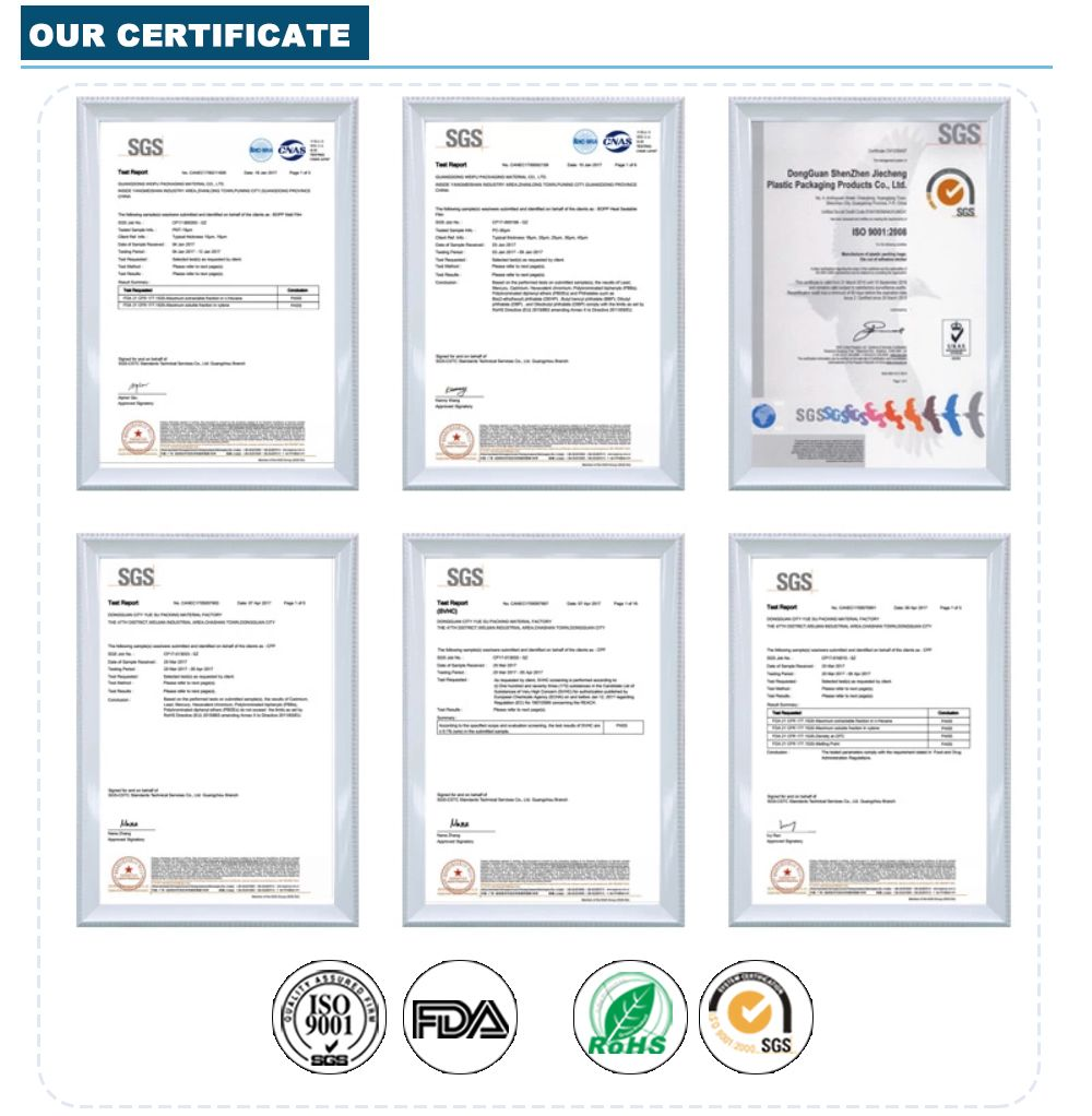 Wholesale Smell Proof Bags Manufacturers Certificate